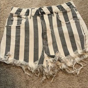 Zara Striped Grey & White Denim Shorts